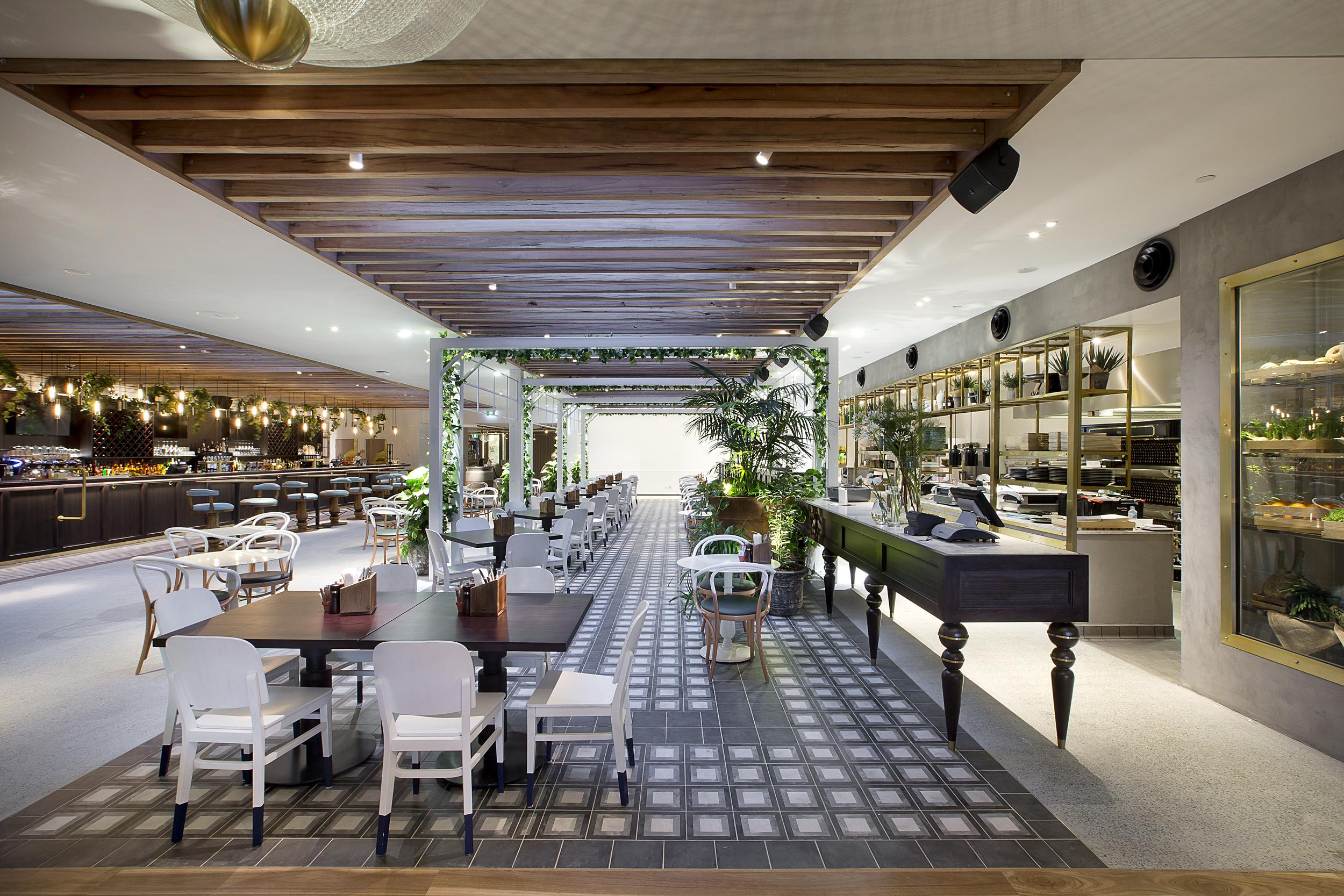 New local restaurant showcasing world class design cedar suede - Bar area in kitchen ...