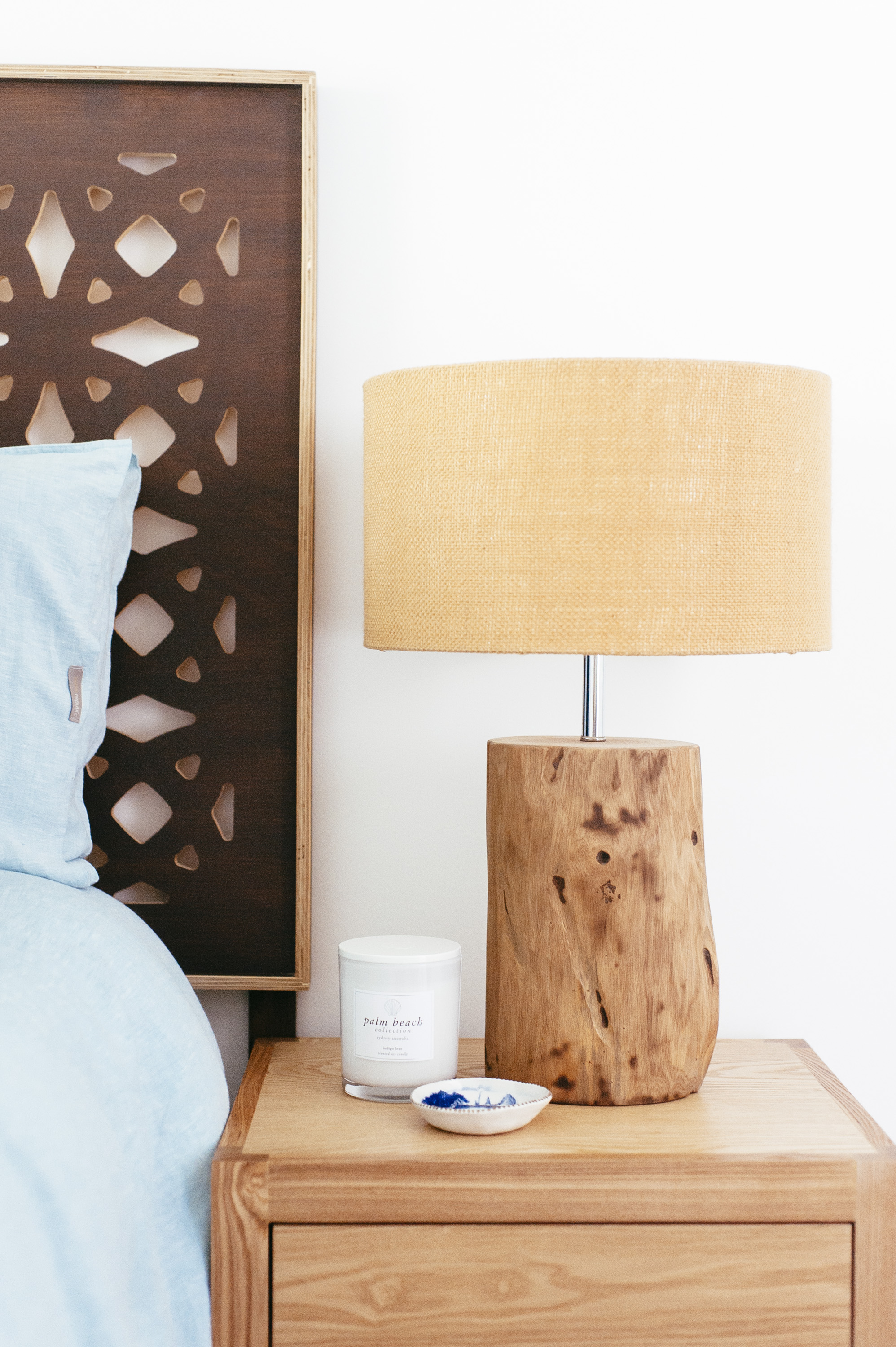 I Love How Perfectly The Lamp Shades Talk To The Blonde Timber Trim Of The  Bedhead (which I Take No Credit For) And The Warmth Of Timber Tree Trunk  The Lamp ...